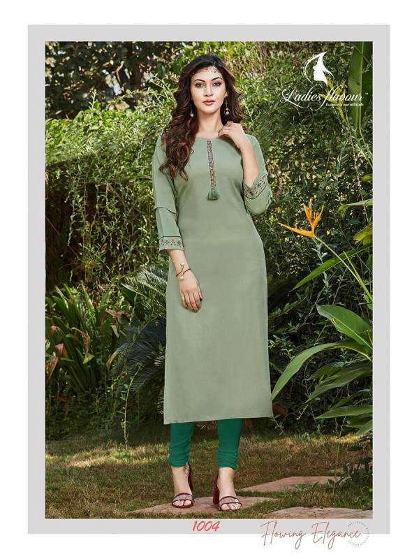 Ladies Flavour Serena Vol 3 Rayon With Embroidery Work Straight Kurtis Collection