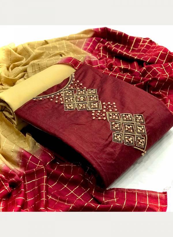 VT Designer Series 01CHANDERI-04CHANDERI Modal Chanderi Silk With Fancy Hand Work Non Catalog Salwar Suits Collection