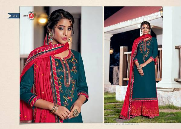 KVS Kalash Vol 3 Series 511-516 Jam Silk With Fancy Embroidery Work Festival Wear Palazzo Suits Collection