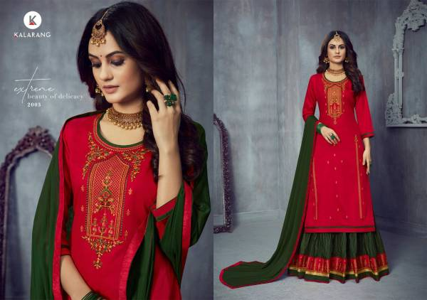 Kalarang Blossom Vol 14 Series 2001-2004 Jam Silk Cotton With Embroidery Work Casual Wear New Lehenga Suits Collection