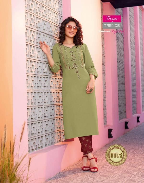 Diya Trends Biba's Vol 8 Rayon Cotton Flex Fancy Embroidery Work Designer Palazzo suit Collection
