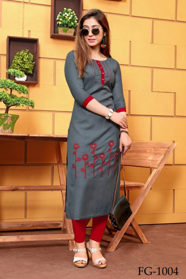 Fashion Galleria Krisha Vol 7 Series FG-1001 - FG-1008 Galaxi Cotton With Fancy Hand Work Designer Casual wear Kurti Collection