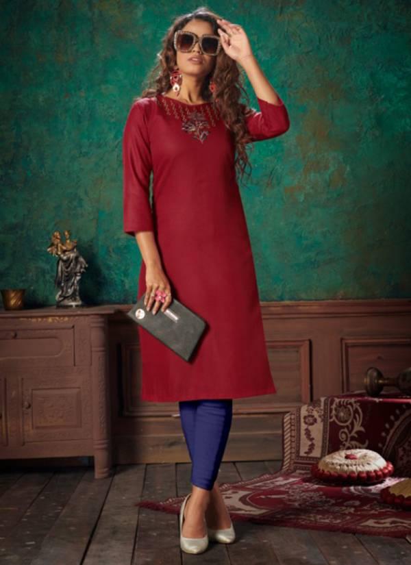 Nitisha NX Viva Vol 6 Heavy Soft Cotton Slub With Fancy Embroidery Work Kurtis Collection