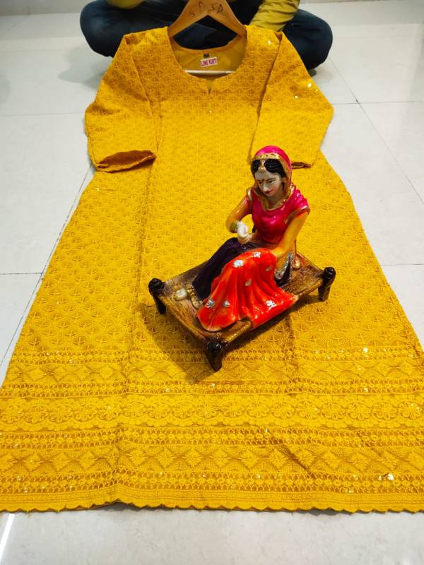 VE Pure Cotton With Chikan Embroidery Work Festival Wear Gowns Collection (38-48 Sizes)