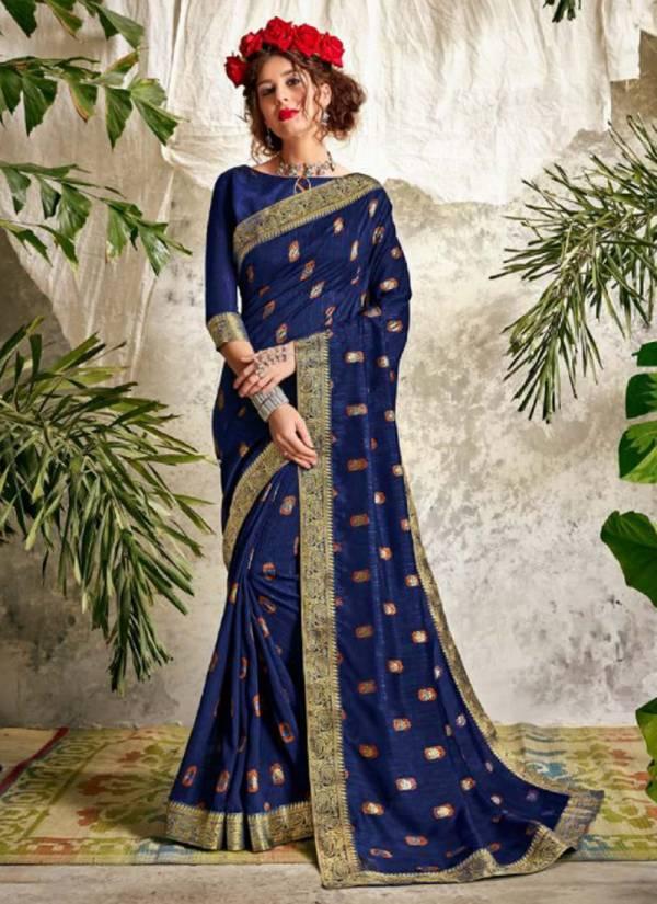 Seemaya Leena Series 975-982 Blooming Vichitra Silk With Foil Printed Latest Designer Sarees Collection