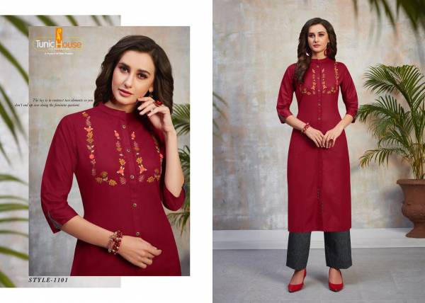 Neha Fashion Najuk Vol 2 Cotton Flex With Hand Embroidery Work Kurtis With Pants Collection