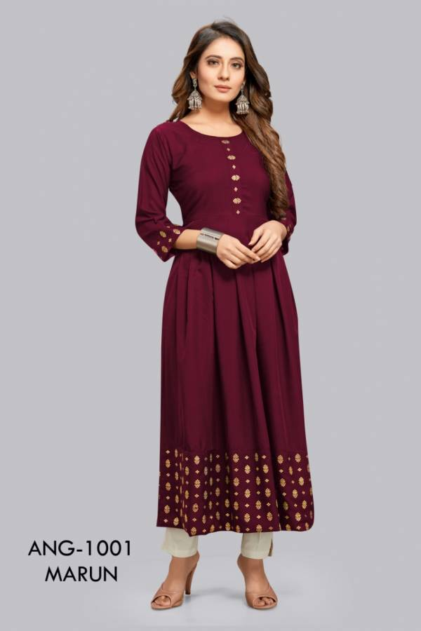 12 Angel Tanishq Heavy Rayon With Gold Foil Long Kurtis Collection