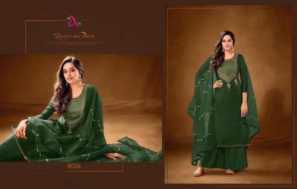 Angroop Plus Erika Series 8001-8008 Pure Cotton Lawn With Stylish Embroidery Work Festival Wear Palazzo Suits Collection