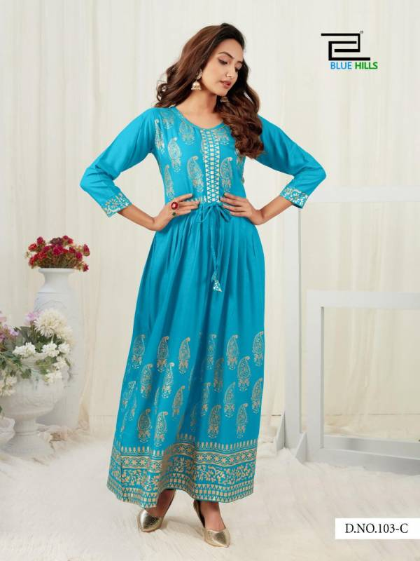 Blue Hills Gold Touch Series 101A-106 Heavy Rayon Frill With Foil Printed Daily Wear Kurtis Collection