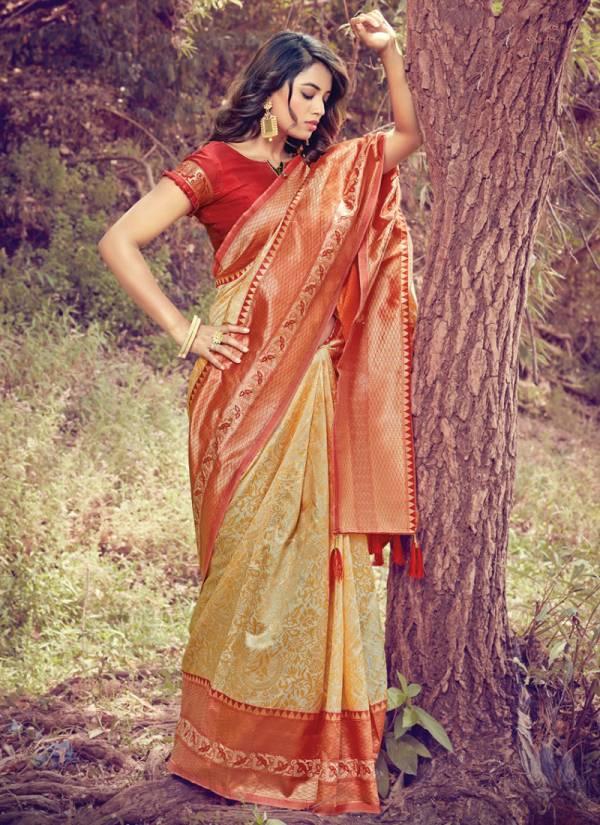 Sangam Prints Tanishq Silk Fancy Embroidery Work Wedding Wear Designer Sarees Collection
