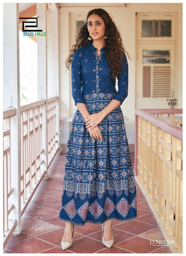 Blue Hills Walkway Vol 9 Series 101BH-110BH Rayon Foil Printed Casual Wear New Fancy Long Gowns Kurti Collection