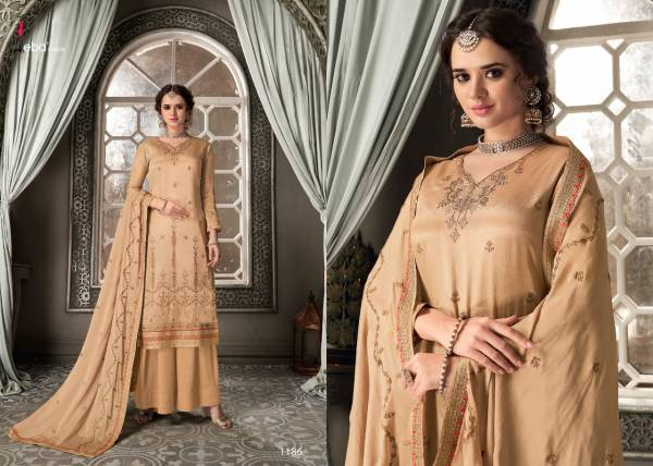 Eba Lifestyle Ketonic Series 1185-1189 Heavy Chinnon With Heavy Embroidery 7 Diamond Work Designer Palazzo Suits Collection