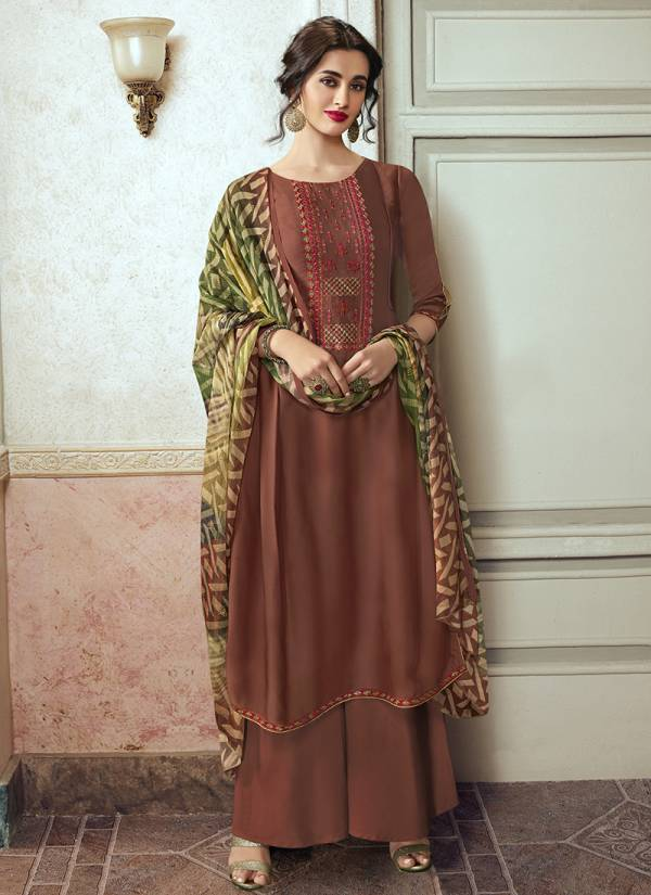 Hansa Husna Ara Satin Georgette Embroidery Work Festival Wear Palazzo Suits Collection