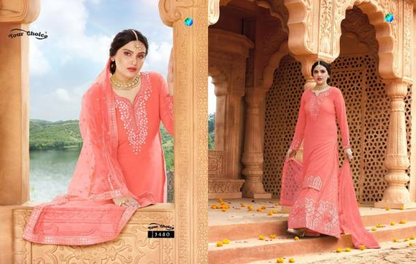 Your Choice Celebrity Series 3479-3482 Georgette With Gota Mirror Work New Designer Lehenga Suits Collection