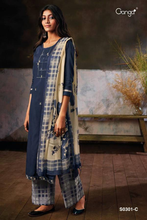 Ganga Nimma 301 Cotton Satin With Embroidery Work Salwar Suits Collection