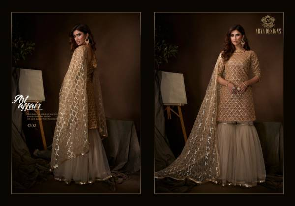 Arya Designs Noorani Saga 1 Series 4201-4210 Soft Net With Stitched Top Sequence, Thread & Dori Work Festival Wear Sharara Suits Collection(Only Top Stitch)