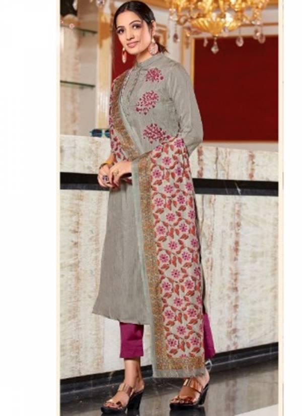 Dhanyawad Silkina Series 691-696 Pure Silk Slub With Fancy Hand Work Latest Designer Long Kurtis With Zari Work Dupatta Collection