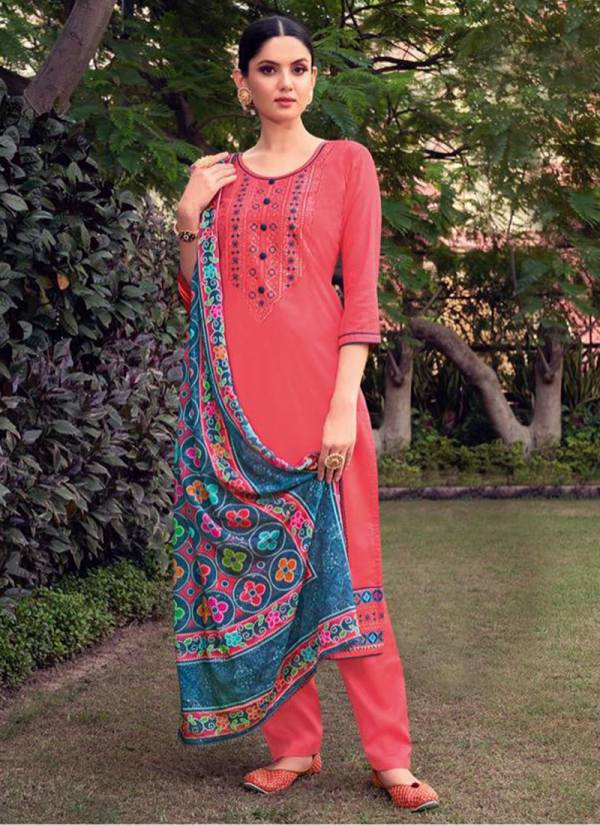 Kessi Fabric Simran Vol 4 Jam Silk Cotton With Embroidery Work Salwar Suit Collection