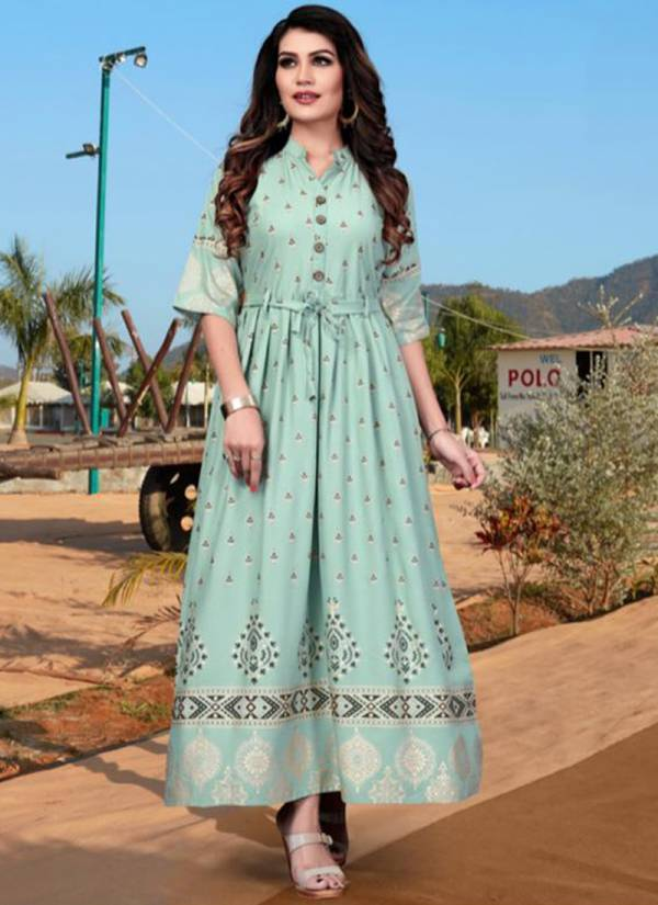 Fashion Valley Dresses Rang Vol 3 Series 101-110 Rayon With Foil Printed Casual Wear Long Designer Gown Style Kurti Collection