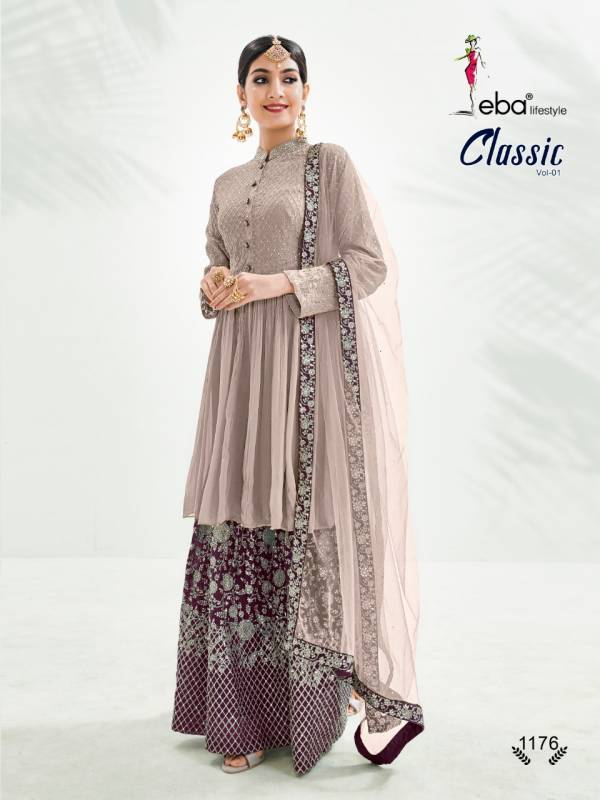 Eba Lifestyle Classic Vol 1 Series 1173-1176 Chinnon With Heavy Embroidery & Diamond Work Wedding Wear Sharara Suits Collection