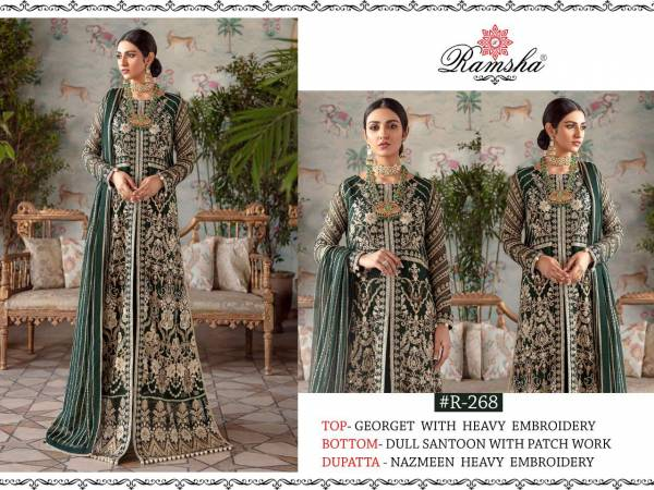 Ramsha Net And Georgette With Embroidery Hand Work Eid Special Pakistani Suits Collection