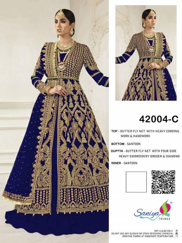 Saniya Trendz Mariya B Bridal Series 42004A-42004C Butterfly Net With Codding Work& Hand Work Wedding Wear Pakistani Suits Collection
