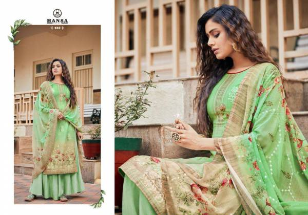 Hansa Prints Siyya Georgette Digital Printed With Work Palazzo Suits Collection
