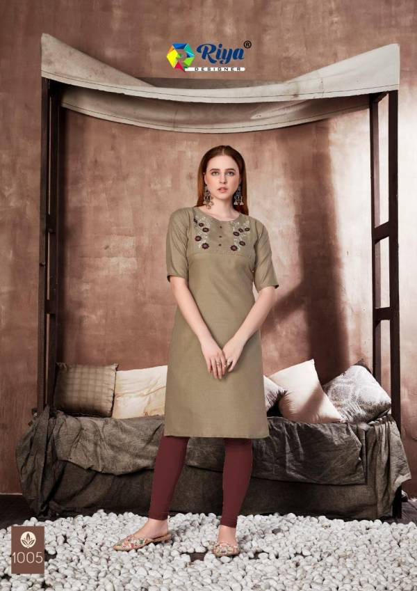 Riya Designer Antra Cotton Slub WIth Work Casual Wear Kurtis Collection