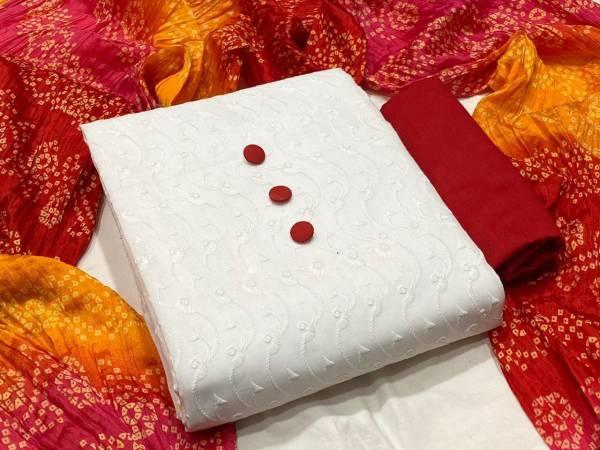 Designer Suits Series 111-111C Chicken Schiffli Work Cotton Fancy Non Catalog Salwar Suits Collection