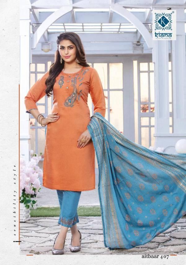 Kiana Aitbaar Vol 4 Series 401-408 Chanderi Silk With Embroidery Thread Work 7 Hand Work Latest Designer Readymade Suits Collection