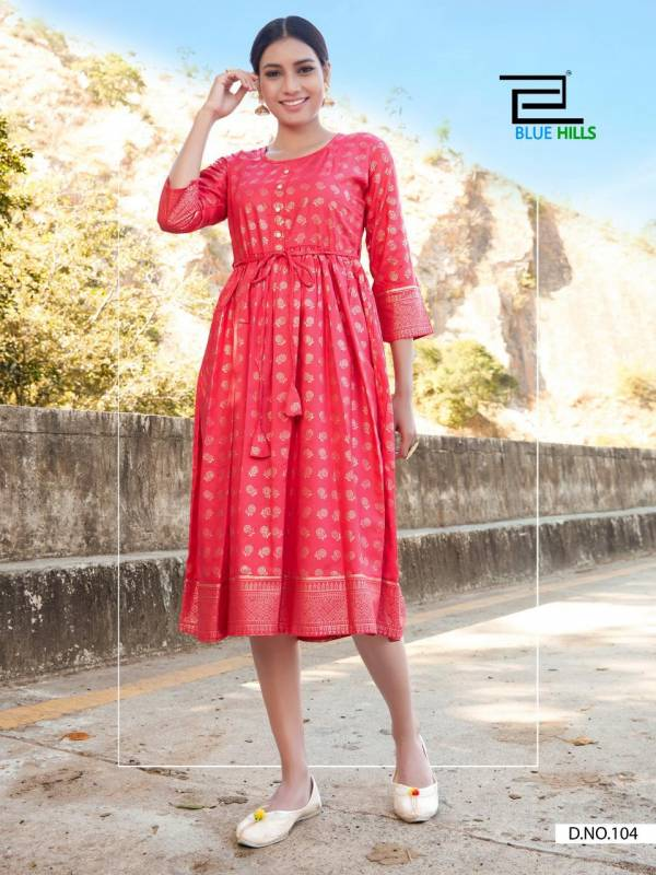 Blue Hills Payal Vol 1 Series 101-110 Rayon Gold Foil Printed Frill Style New Designer Kurtis Collection