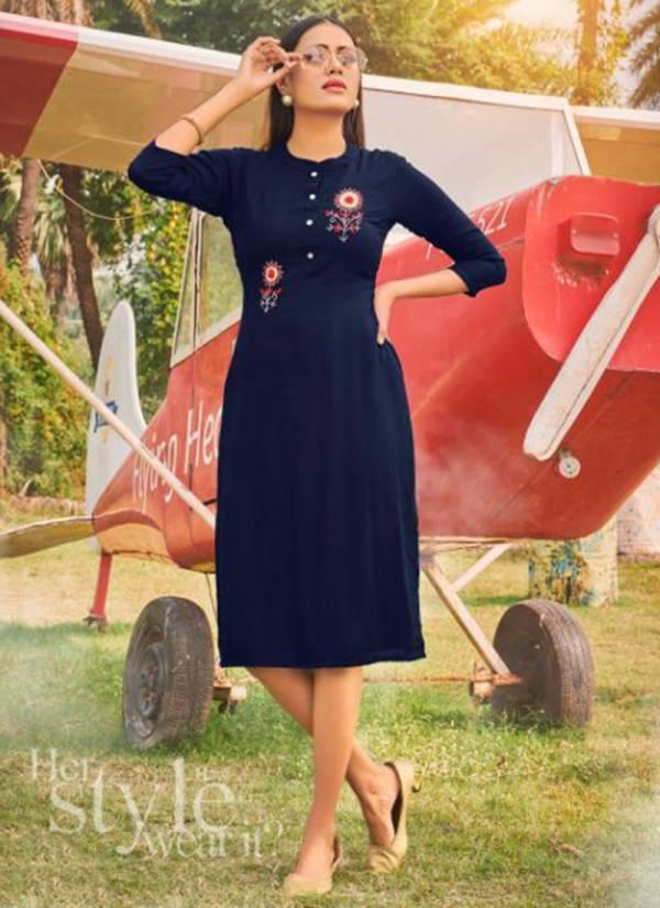Poorvi Designer Queen Vol 2 Rayon Slub With Hand Work Trendy Look Kurtis Collection