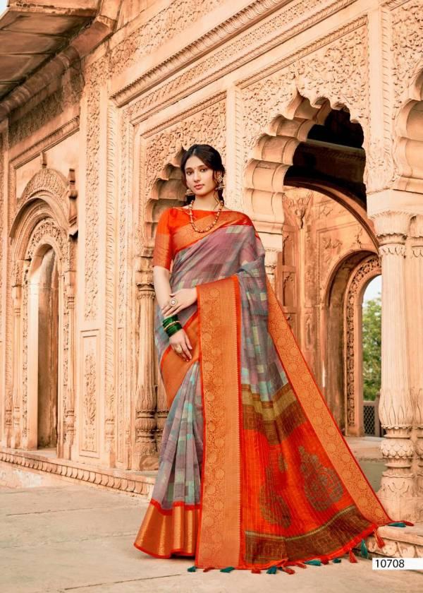 Triveni Premratan Series 10701-10708 Linen Weaving Pallu And Border Latest Designer Sarees Collection