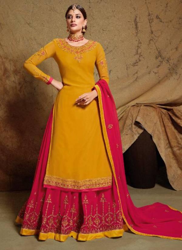 Sara Trendz Kamya Series 9081-9086 Satin Georgette With Heavy Embroidery Work Wedding Wear Lehenga Suits Collection