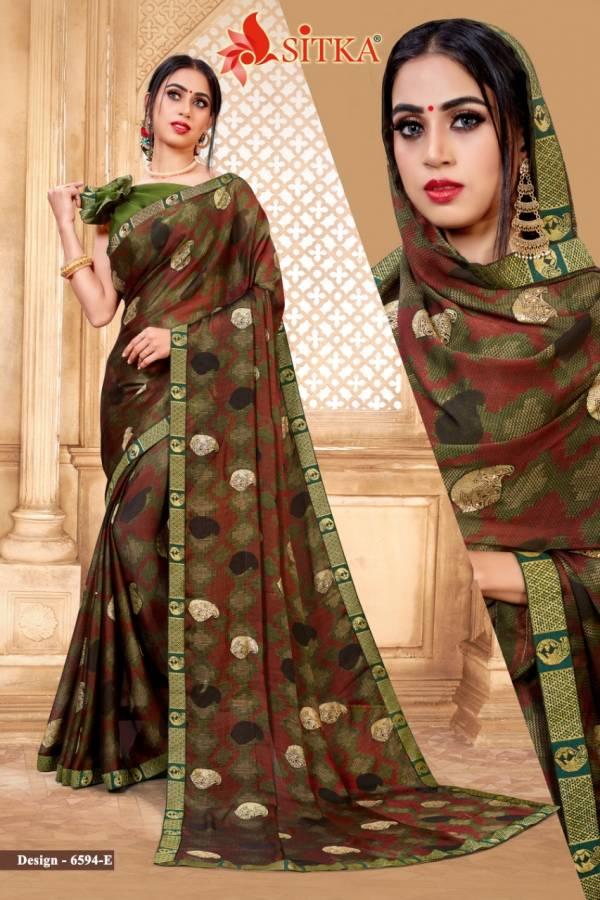 Kodas Sitka Minaj Series 6495A-6594H Black Moss Chiffon New Fancy Sarees Collection