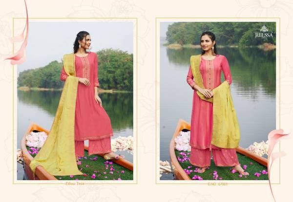 Relssa Fabrics Soch Pure Muslin Silk Embroidery Work Plazzo Salwar Suit Collections