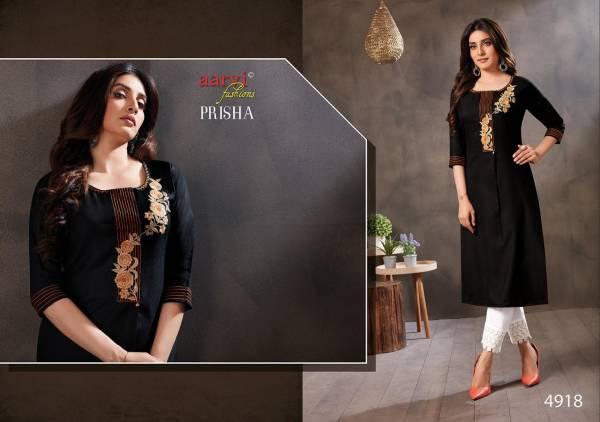 Aarvi Fashion Prisha Vol 3 Ruby Silk Cotton With Fancy Work Kurti Collection