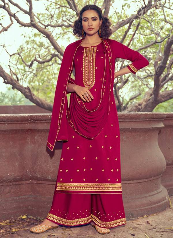 Kessi Fashion Rihasat Jam Silk Chinon With Embroidery Work Traditional Wear Plazzo Salwar Suit Collections