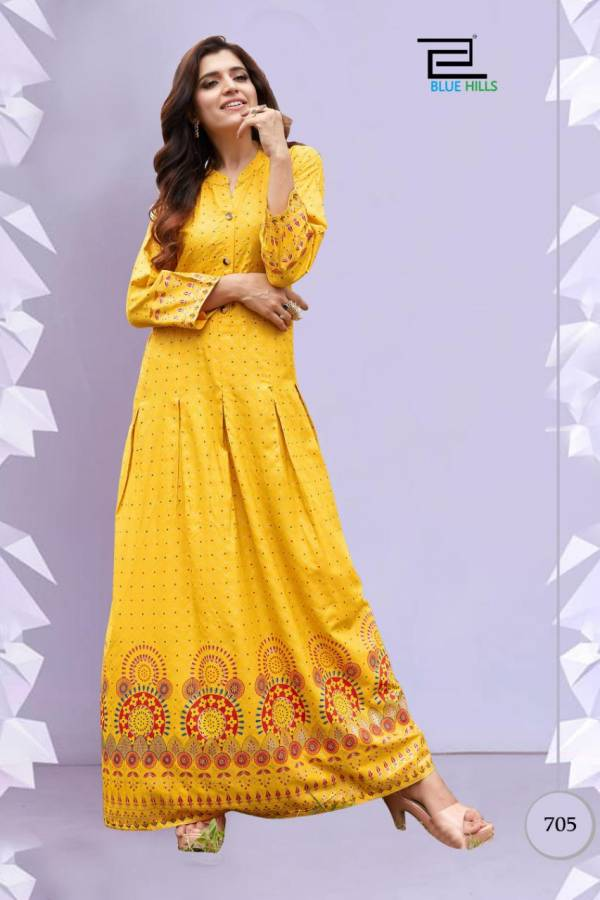 Blue Hills Walkway Vol 7 NX Rayon With Foil Printed Long Gowns Collection