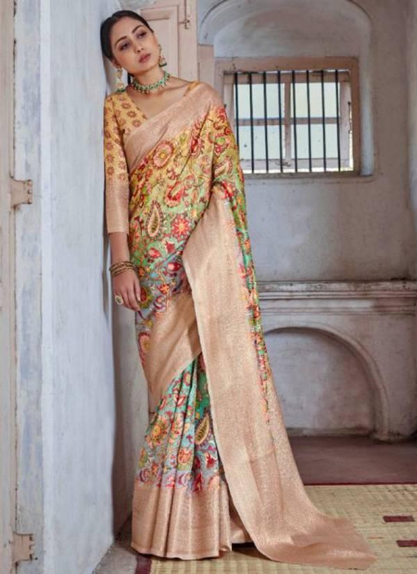 Raj Tex Kavya Digital Silk Party Wear Sarees Collection