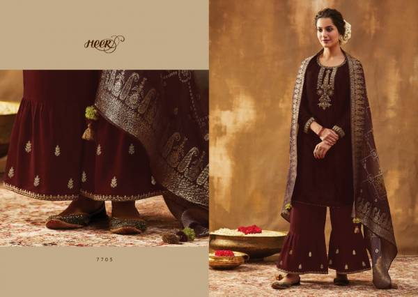Kimora Bandhani Velvet With Fancy Neck Embroidery Work Palazzo Suits Collection