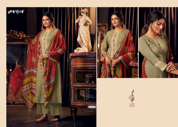 Jay Vijay Lumiere Series 5741-5750 Pure Bemberg Silk Mukaish Work And Hand Work Latest Designer Palazzo Suits Collection