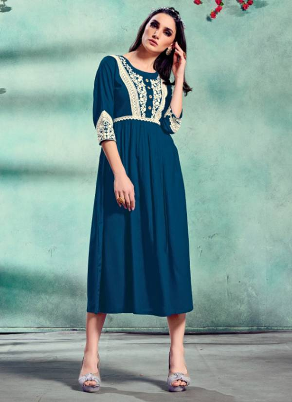Fashion Galleria Roseberry Vol 1 Series 2010-2013 Pure Rayon With Lucknowi Embroidery Work New Designer Kurtis Collection