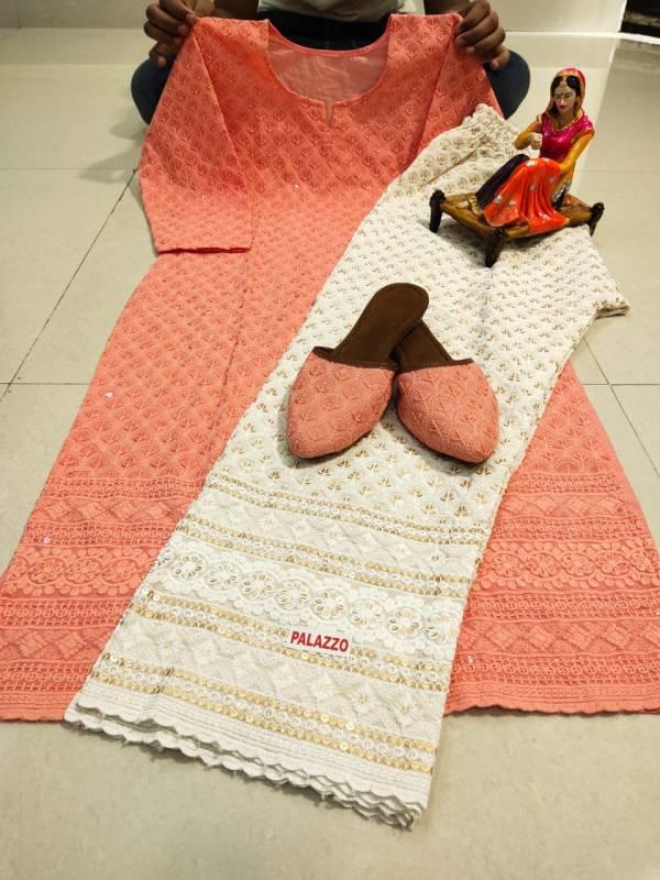 VE Pure Cotton Beautiful Chikan Panjabi Kurti Palazzo With Fancy Matching Jutti Collection (38-48 sizes)