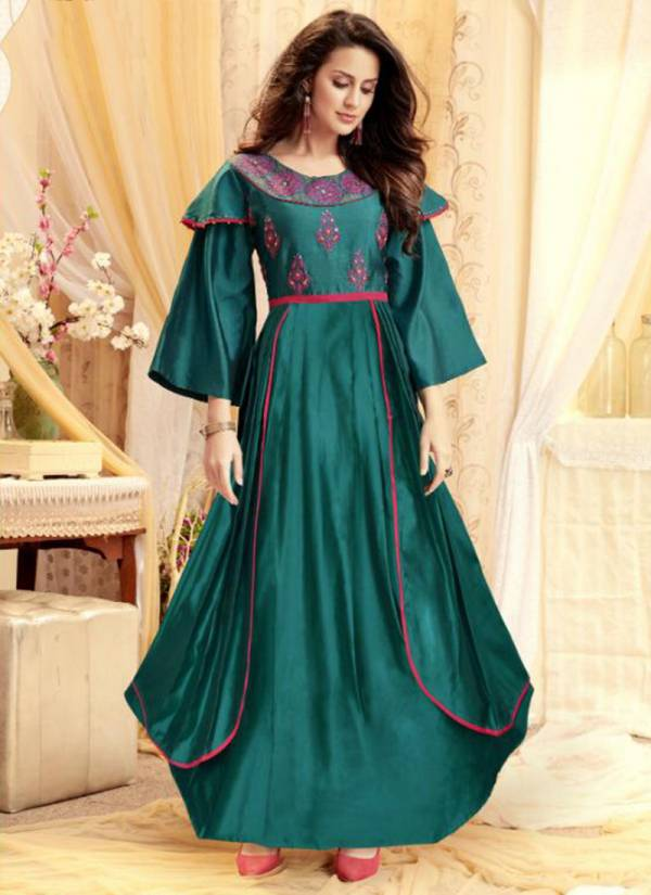 Shubh NX Air India Vol 2 Series 2001AI-2006AI Tapeta Satin With Fancy Hand Work Stylish Look Party Wear Gowns Collection