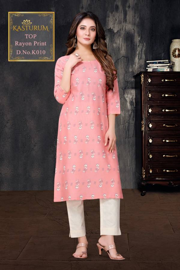 Kasturum Rayon With Fancy Printed Daily Wear Kurti Collection