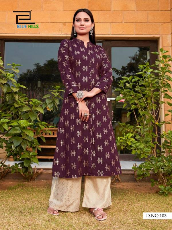 Blue Hills Iktara Series 101-105 Fancy Foil Printed Long Casual Wear Kurtis With Palazzo Collection