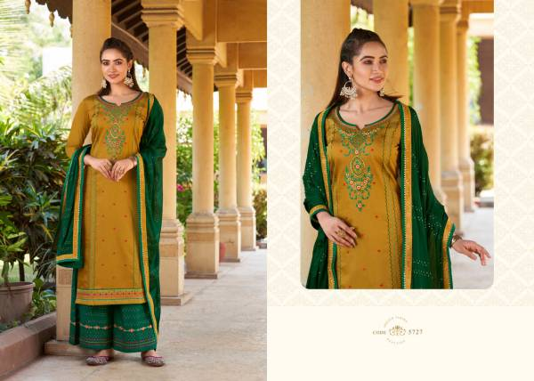 KVS Safari Premium Jam Silk With Fancy Embroidery Work Palazzo Suits Collection