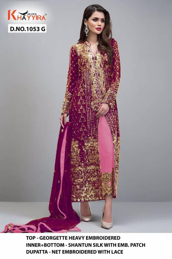 Khayyira Block Buster Hit Heavy Georgette With Embroidery Work Pakistani Suits Collection