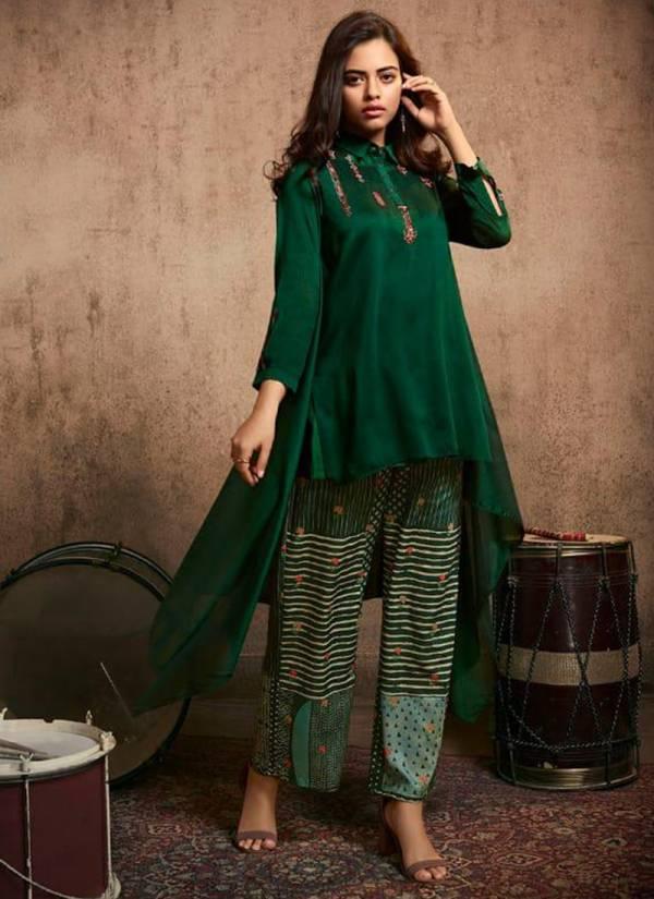 Jansi Tanaaz Series J-21 - J-26 Berry Silk Embroidery Work Ethnic Designer Short Kurti With Bottom Collection